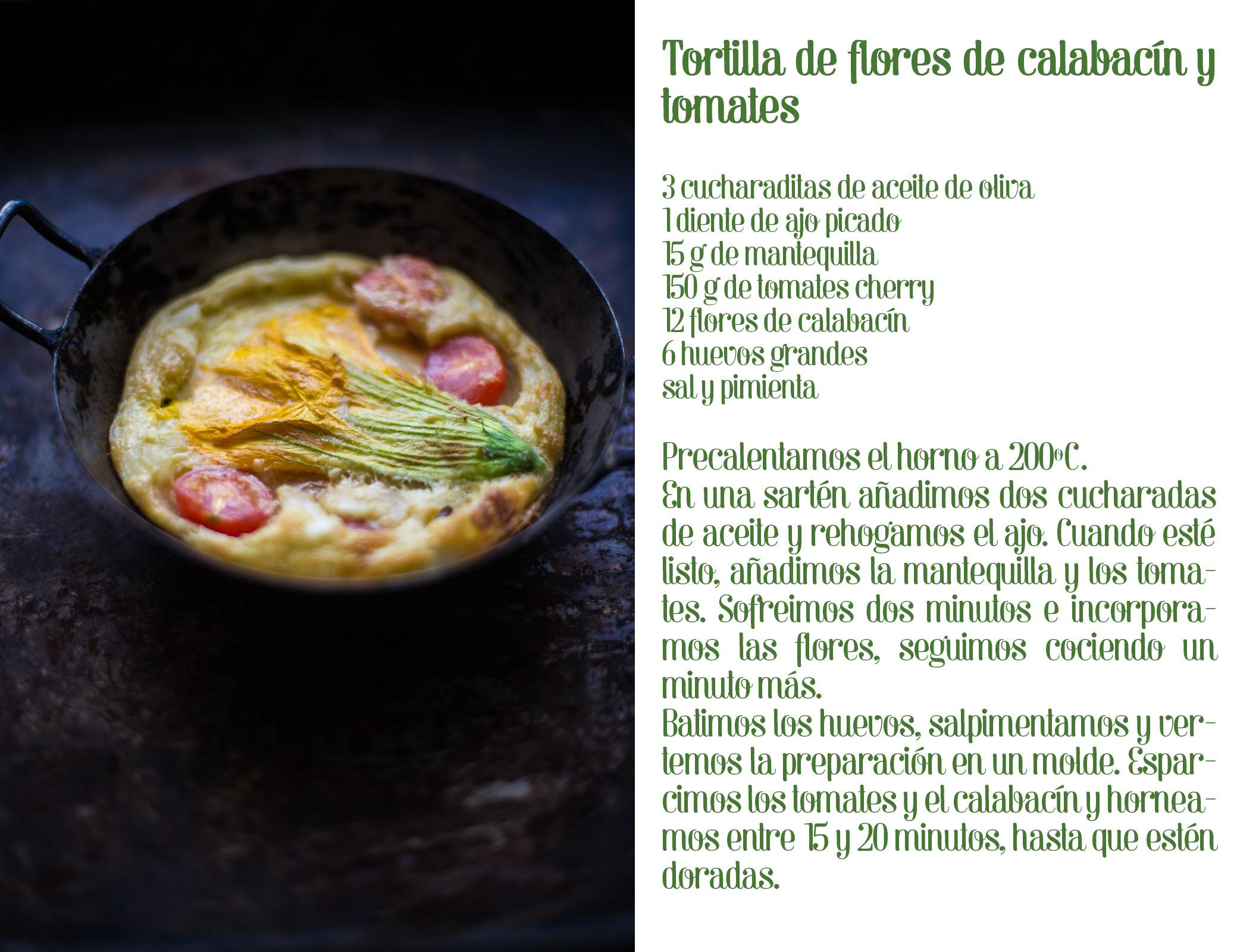 Tortilla de flor de calabacín y tomate