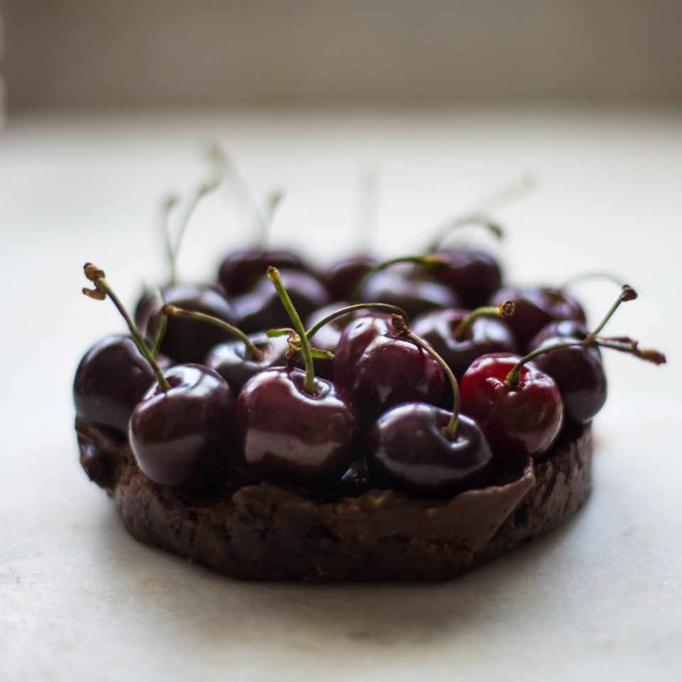 Raw brownie with cherries